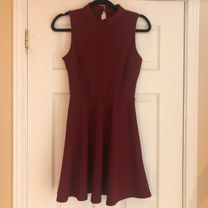 High neck red dress